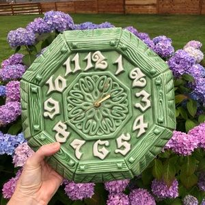 VTG 70s Ceramic Wall Clock 12 x12 Green Octagon